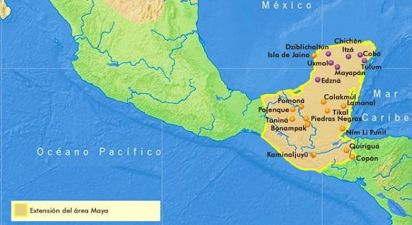 Cultura maya. Extensión territorial. Ubicación geográfica