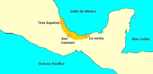 Cultura olmeca. Extensión territorial. Ubicación geográfica