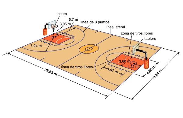 Medidas de la cancha de básquetbol